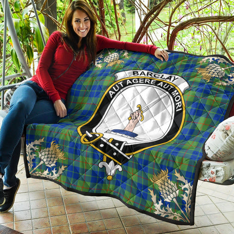 Barclay Hunting Ancient Clan Crest Tartan Scotland Thistle Gold Pattern Premium Quilt K9