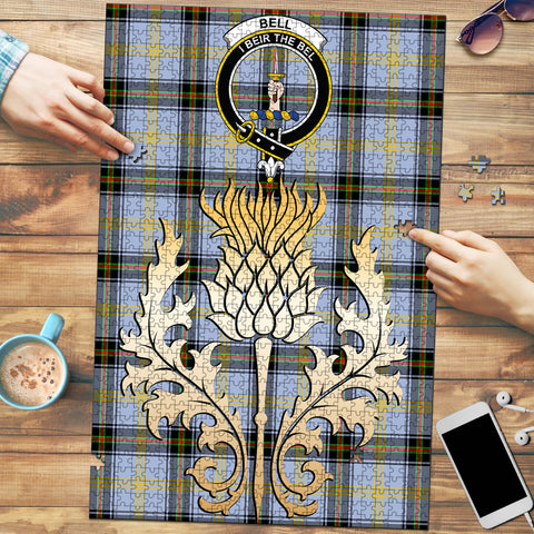Bell of the Borders Clan Crest Tartan Thistle Gold Jigsaw Puzzle