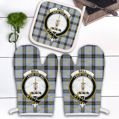 Bell of the Borders Clan Crest Tartan Scotland Oven Mitt And Pot-Holder (Set Of Two)