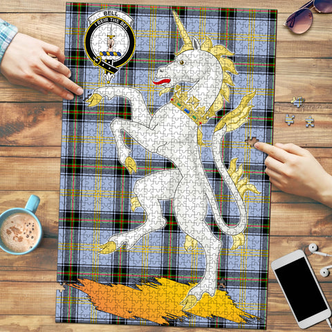 Image of Bell of the Borders Clan Crest Tartan Unicorn Scotland Jigsaw Puzzle