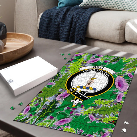 Bell of the Borders Clan Crest Tartan Thistle Pattern Scotland Jigsaw Puzzle