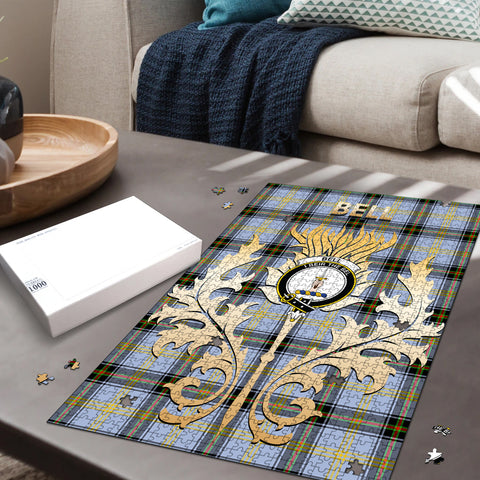 Bell of the Borders Clan Name Crest Tartan Thistle Scotland Jigsaw Puzzle