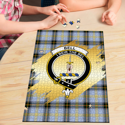 Bell of the Borders Clan Crest Tartan Jigsaw Puzzle Gold