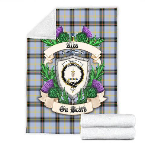 Image of Bell of the Borders Crest Tartan Blanket Thistle  | Tartan Home Decor | Scottish Clan
