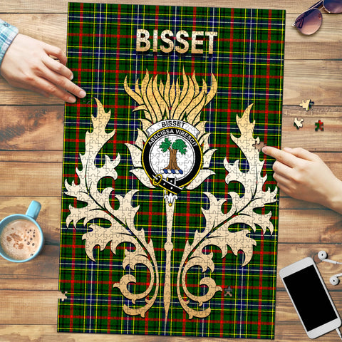 Image of Bisset Clan Name Crest Tartan Thistle Scotland Jigsaw Puzzle