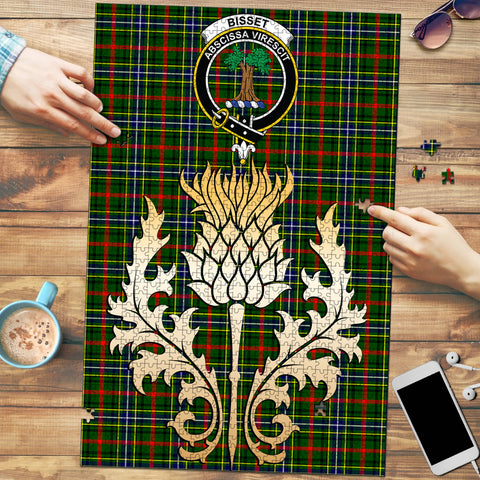 Image of Bisset Clan Crest Tartan Thistle Gold Jigsaw Puzzle