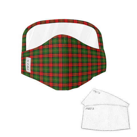 Blackstock Tartan Face Mask With Eyes Shield - Green & Red  Plaid Mask TH8