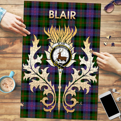 Image of Blair Modern Clan Name Crest Tartan Thistle Scotland Jigsaw Puzzle