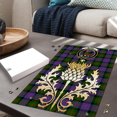 Image of Blair Modern Clan Crest Tartan Thistle Gold Jigsaw Puzzle