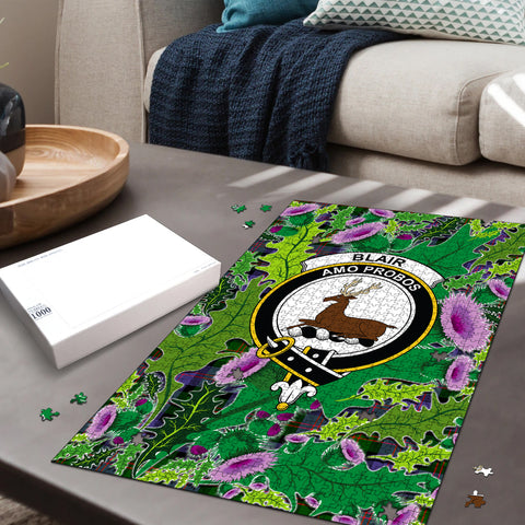 Image of Blair Modern Clan Crest Tartan Thistle Pattern Scotland Jigsaw Puzzle