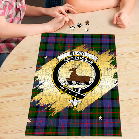 Image of Blair Modern Clan Crest Tartan Jigsaw Puzzle Gold