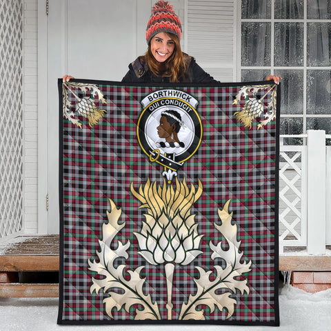 Borthwick Ancient Clan Crest Tartan Scotland Thistle Gold Royal Premium Quilt