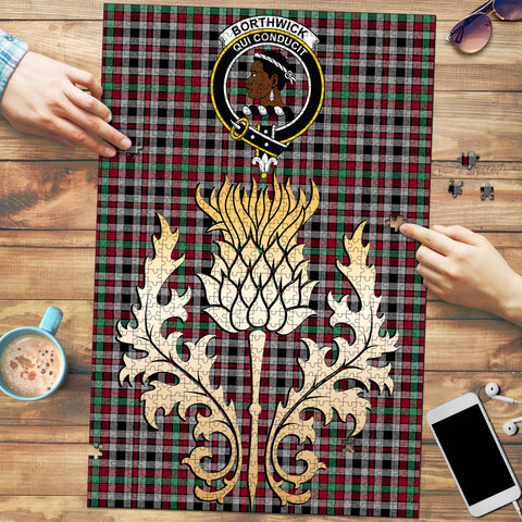 Image of Borthwick Ancient Clan Crest Tartan Thistle Gold Jigsaw Puzzle