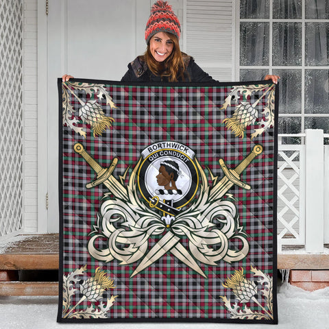 Borthwick Ancient Clan Crest Tartan Scotland Thistle Symbol Gold Royal Premium Quilt