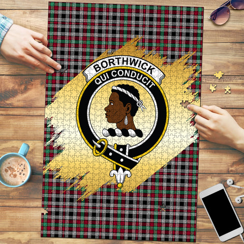 Image of Borthwick Ancient Clan Crest Tartan Jigsaw Puzzle Gold