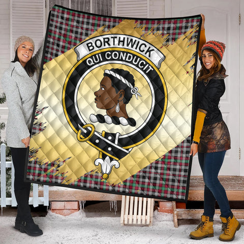 Borthwick Ancient Clan Crest Tartan Scotland Gold Royal Premium Quilt K9