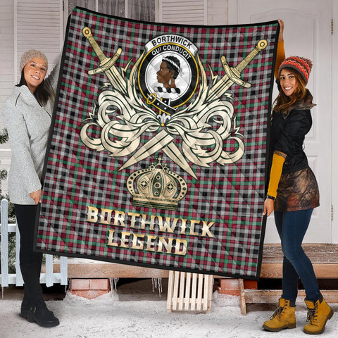 Borthwick Ancient Clan Crest Tartan Scotland Clan Legend Gold Royal Premium Quilt K9