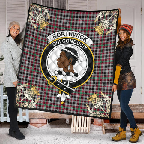 Image of Borthwick Ancient Clan Crest Tartan Scotland Thistle Gold Pattern Premium Quilt K9