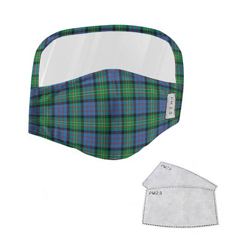 Bowie Ancient Tartan Face Mask With Eyes Shield - Blue & Green  Plaid Mask TH8