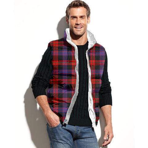Brown Modern Tartan Puffer Vest for Men and Women K7