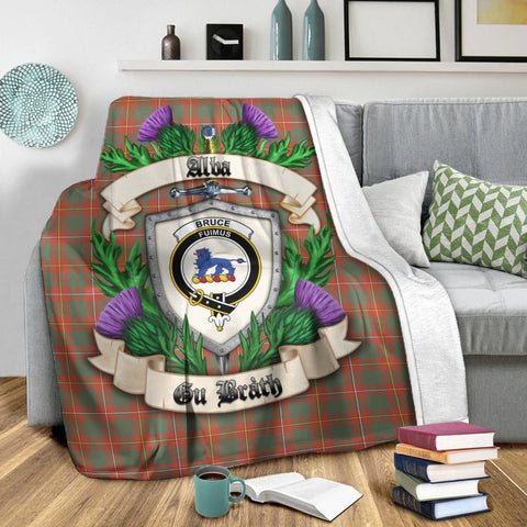 Bruce Ancient Crest Tartan Blanket Thistle  | Tartan Home Decor | Scottish Clan