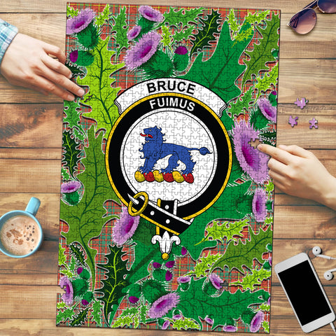 Bruce Ancient Clan Crest Tartan Thistle Pattern Scotland Jigsaw Puzzle