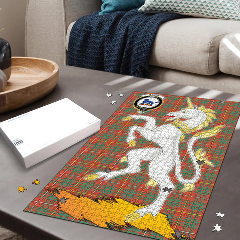Bruce Ancient Clan Crest Tartan Unicorn Scotland Jigsaw Puzzle