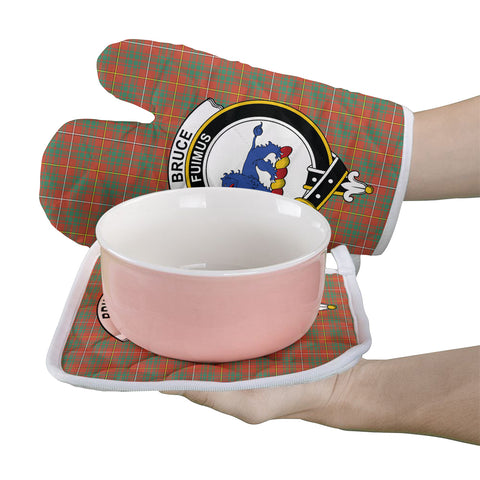 Bruce Ancient Clan Crest Tartan Scotland Oven Mitt And Pot-Holder (Set Of Two)