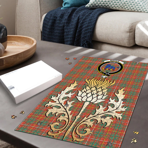 Bruce Ancient Clan Crest Tartan Thistle Gold Jigsaw Puzzle