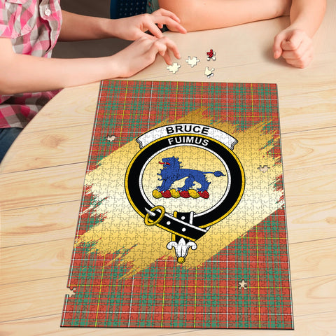 Bruce Ancient Clan Crest Tartan Jigsaw Puzzle Gold