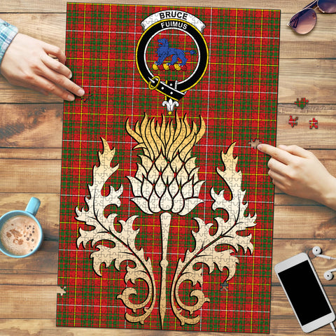 Image of Bruce Modern Clan Crest Tartan Thistle Gold Jigsaw Puzzle