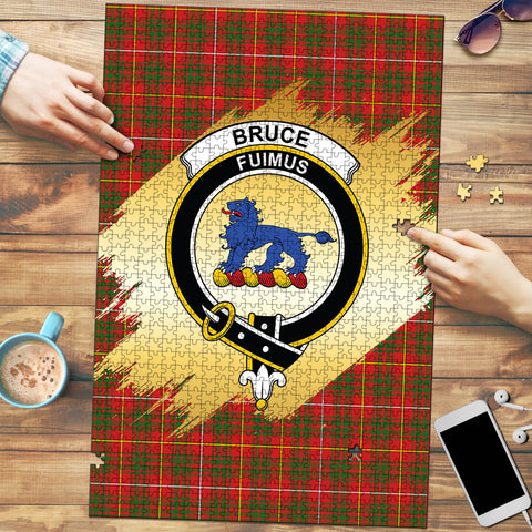Image of Bruce Modern Clan Crest Tartan Jigsaw Puzzle Gold