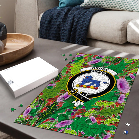 Image of Bruce Modern Clan Crest Tartan Thistle Pattern Scotland Jigsaw Puzzle