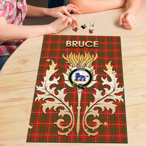 Image of Bruce Modern Clan Name Crest Tartan Thistle Scotland Jigsaw Puzzle