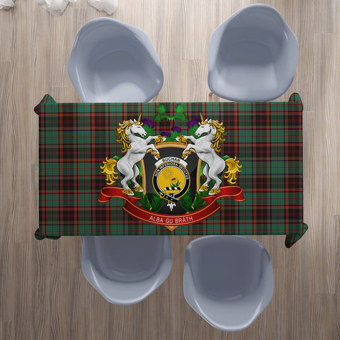 Image of Buchan Ancient Crest Tartan Tablecloth Unicorn Thistle | Home Decor
