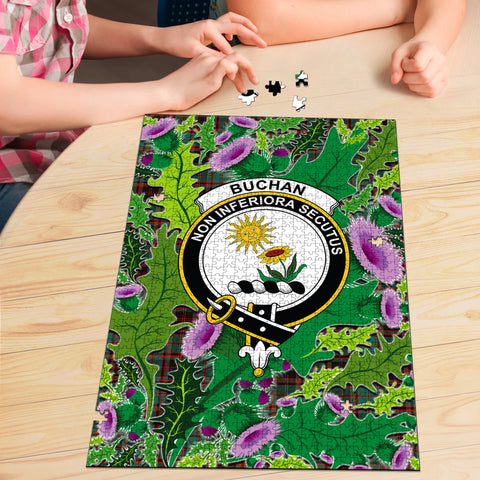 Image of Buchan Ancient Clan Crest Tartan Thistle Pattern Scotland Jigsaw Puzzle