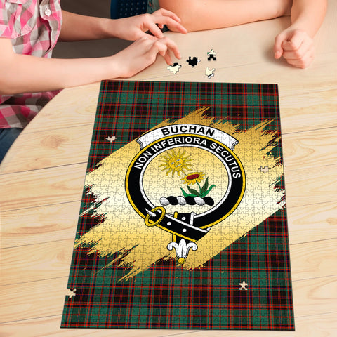 Image of Buchan Ancient Clan Crest Tartan Jigsaw Puzzle Gold