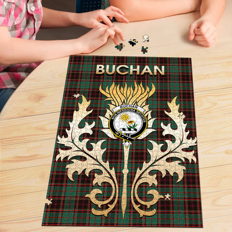 Image of Buchan Ancient Clan Name Crest Tartan Thistle Scotland Jigsaw Puzzle