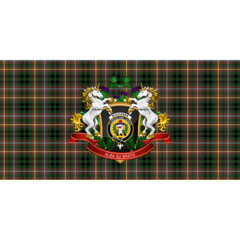 Image of Buchanan Hunting Crest Tartan Tablecloth Unicorn Thistle A30