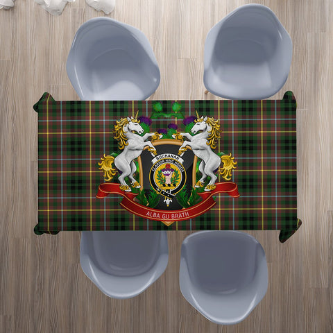 Image of Buchanan Hunting Crest Tartan Tablecloth Unicorn Thistle | Home Decor