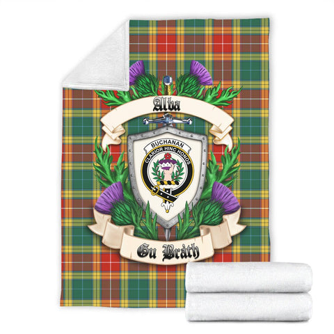 Buchanan Old Sett Crest Tartan Blanket Thistle  | Tartan Home Decor | Scottish Clan