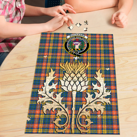 Image of Buchanan Ancient Clan Crest Tartan Thistle Gold Jigsaw Puzzle
