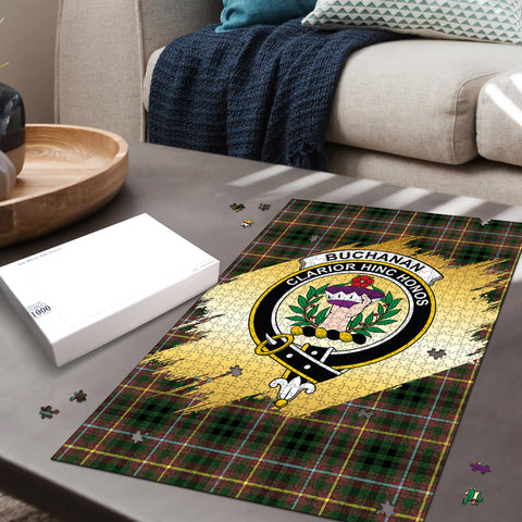 Image of Buchanan Hunting Clan Crest Tartan Jigsaw Puzzle Gold