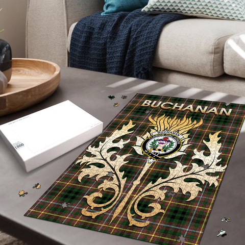 Image of Buchanan Hunting Clan Name Crest Tartan Thistle Scotland Jigsaw Puzzle