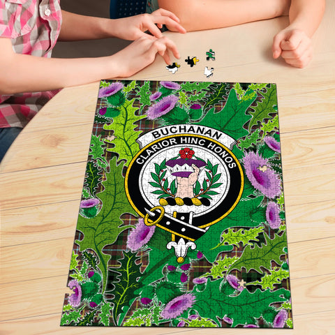Image of Buchanan Hunting Clan Crest Tartan Thistle Pattern Scotland Jigsaw Puzzle