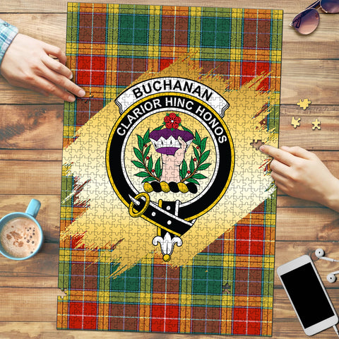 Image of Buchanan Old Sett Clan Crest Tartan Jigsaw Puzzle Gold