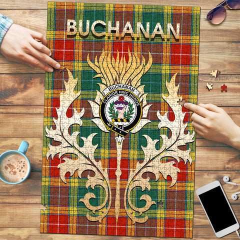 Buchanan Old Sett Clan Name Crest Tartan Thistle Scotland Jigsaw Puzzle