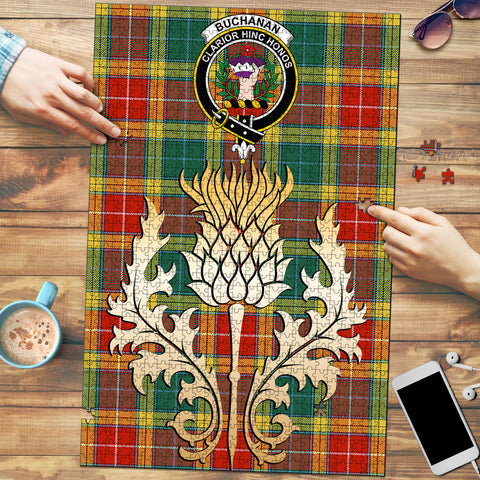 Buchanan Old Sett Clan Crest Tartan Thistle Gold Jigsaw Puzzle