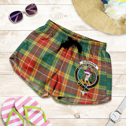Buchanan Old Sett crest Tartan Shorts For Women