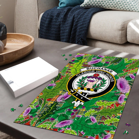 Buchanan Old Sett Clan Crest Tartan Thistle Pattern Scotland Jigsaw Puzzle